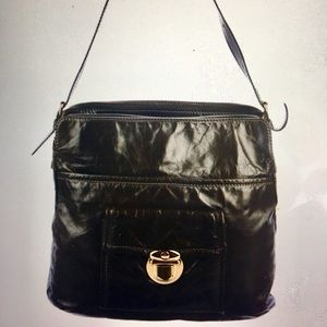MARC JACOBS Greige Glazed Leather Hobo Bag